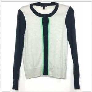 J Crew Merino Colorblock Button Cardigan Sweater S